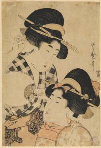 Kitagawa_Dos_jovenes_mujeres_con_abanico